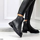 Дизайнерские черные женские зимние ботинки натуральная кожа флотар, фото 4
