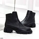 Дизайнерские черные женские зимние ботинки натуральная кожа флотар, фото 5