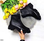 Дизайнерские черные женские зимние ботинки натуральная кожа флотар, фото 7