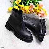 Дизайнерские черные женские зимние ботинки натуральная кожа флотар, фото 9