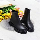Дизайнерские черные женские зимние ботинки натуральная кожа флотар, фото 10