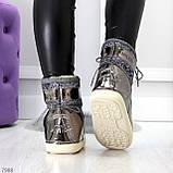 Модные графитовые серебристые глянцевые угги дутики мунбуты сноубутсы валенки с декором, фото 3