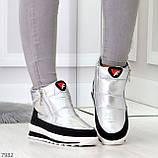 Высокие серебристые текстильные зимние женские кроссовки дутики на молнии, фото 3