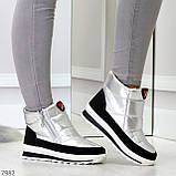 Высокие серебристые текстильные зимние женские кроссовки дутики на молнии, фото 7