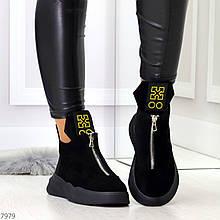 Черные полу спортивные женские ботинки натуральная замша
