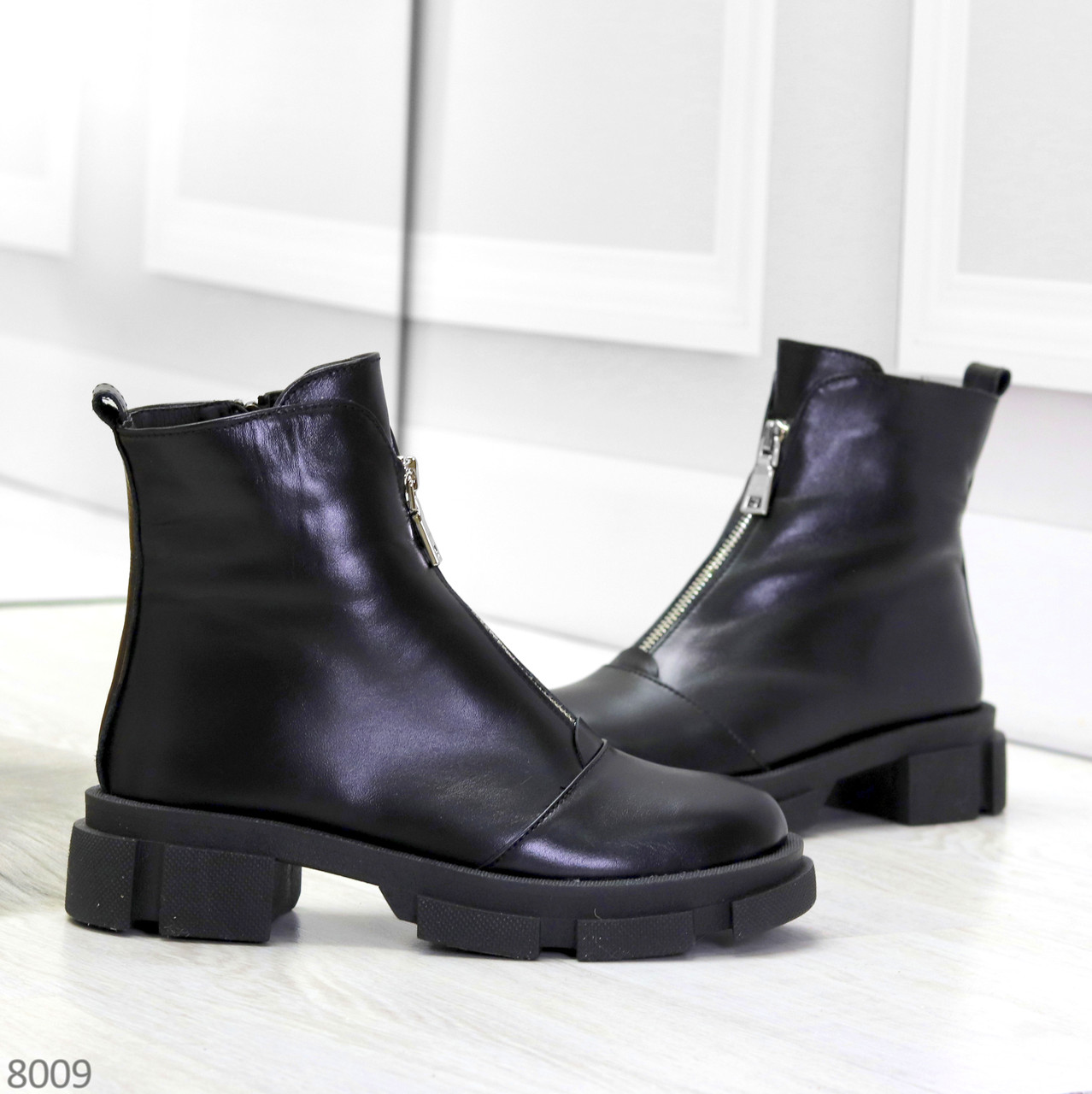 Мега удобные теплые черные женские ботинки натуральная кожа