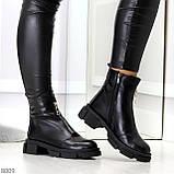 Мега удобные теплые черные женские ботинки натуральная кожа, фото 2