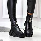 Мега удобные теплые черные женские ботинки натуральная кожа, фото 3
