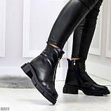 Мега удобные теплые черные женские ботинки натуральная кожа, фото 6
