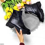 Мега удобные теплые черные женские ботинки натуральная кожа, фото 7