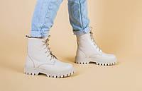 Ботинки женские кожаные бежевого цвета на шнурках зимние 41 +video