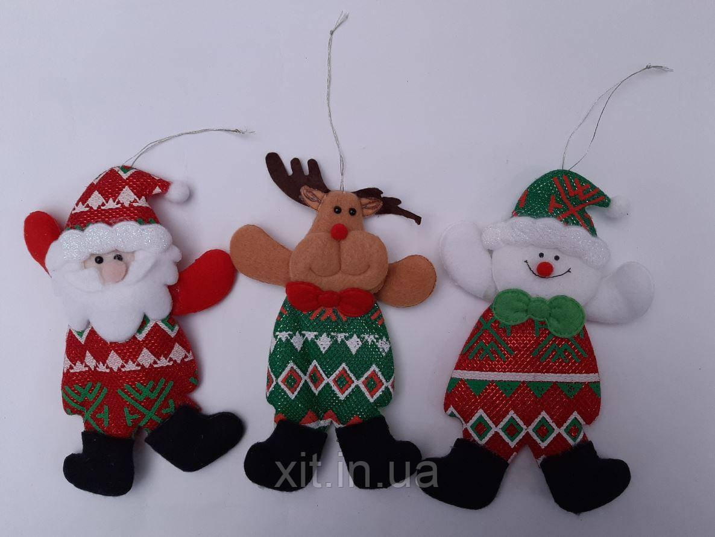 Новогодний магнит - Дед Мороз, Снеговик. Новогодний сувенир. Мягкая игрушка на елку. Новогодние магниты