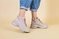 Кроссовки ботинки женские кожаные бежевые зимние 39, 41 +video