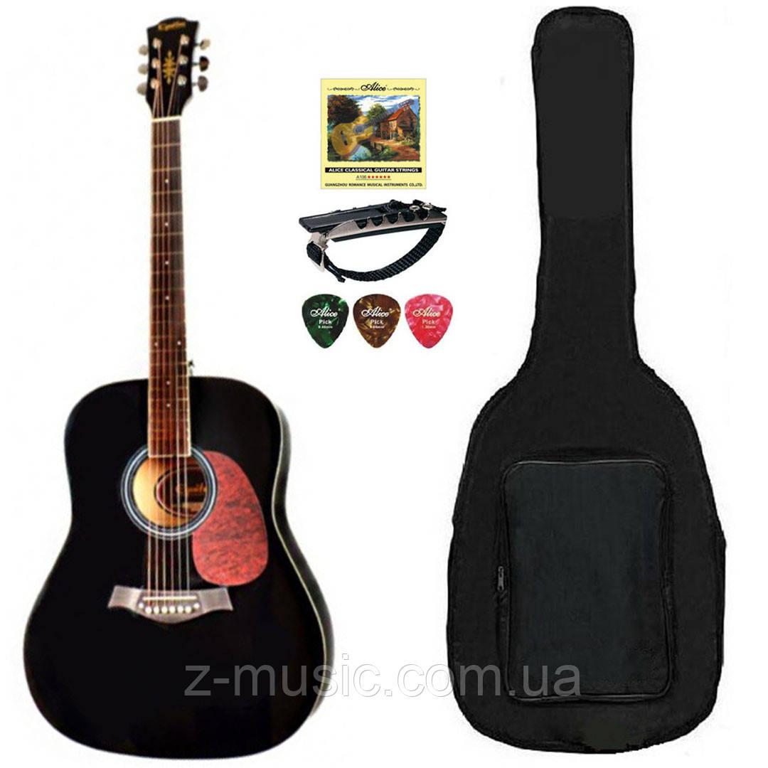 Гитара акустическая Equites Eq-08 BK (полный комплект)