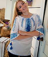 Класична жіноча вишиванка (ручна вишивка на домотканому полотні)