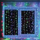 Гирлянда штора водопад светодиодная, 400 LED, Мультицветная, прозрачный провод, 3х3м., фото 2