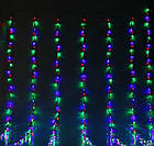 Гирлянда штора водопад светодиодная, 400 LED, Мультицветная, прозрачный провод, 3х3м., фото 6
