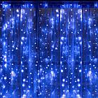 Гірлянда штора водоспад світлодіодна, 400 LED, Блакитна (Синя), прозорий провід, 3х3м., фото 3