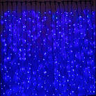 Гірлянда штора водоспад світлодіодна, 400 LED, Блакитна (Синя), прозорий провід, 3х3м., фото 4