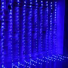 Гірлянда штора водоспад світлодіодна, 400 LED, Блакитна (Синя), прозорий провід, 3х3м., фото 6