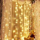 Гирлянда штора водопад светодиодная, 400 LED, Золотая (Желтая), прозрачный провод, 3х3м., фото 6