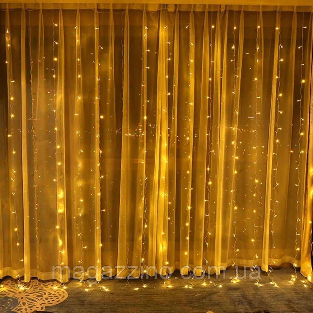 Гирлянда штора водопад светодиодная, 400 LED, Золотая (Желтая), прозрачный провод, 3х3м.