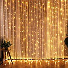 Гирлянда штора водопад светодиодная, 400 LED, Золотая (Желтая), прозрачный провод, 3х3м., фото 7