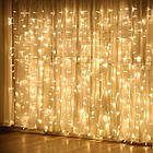 Гирлянда штора водопад светодиодная, 400 LED, Золотая (Желтая), прозрачный провод, 3х3м., фото 9