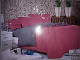 Комплект постільної білизни Поплін двосторонній Малиново - бежевий розмір двоспальний, фото 8