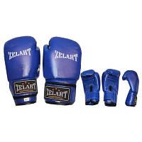 Перчатки боксерские PVC ЮНИОР MA-0033-B ELAST, ZEL (р-р 4-12oz, синий)