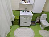 Набор мягких овальных ковриков для ванны из хлопка турецкие белые хлопковая основа, фото 6