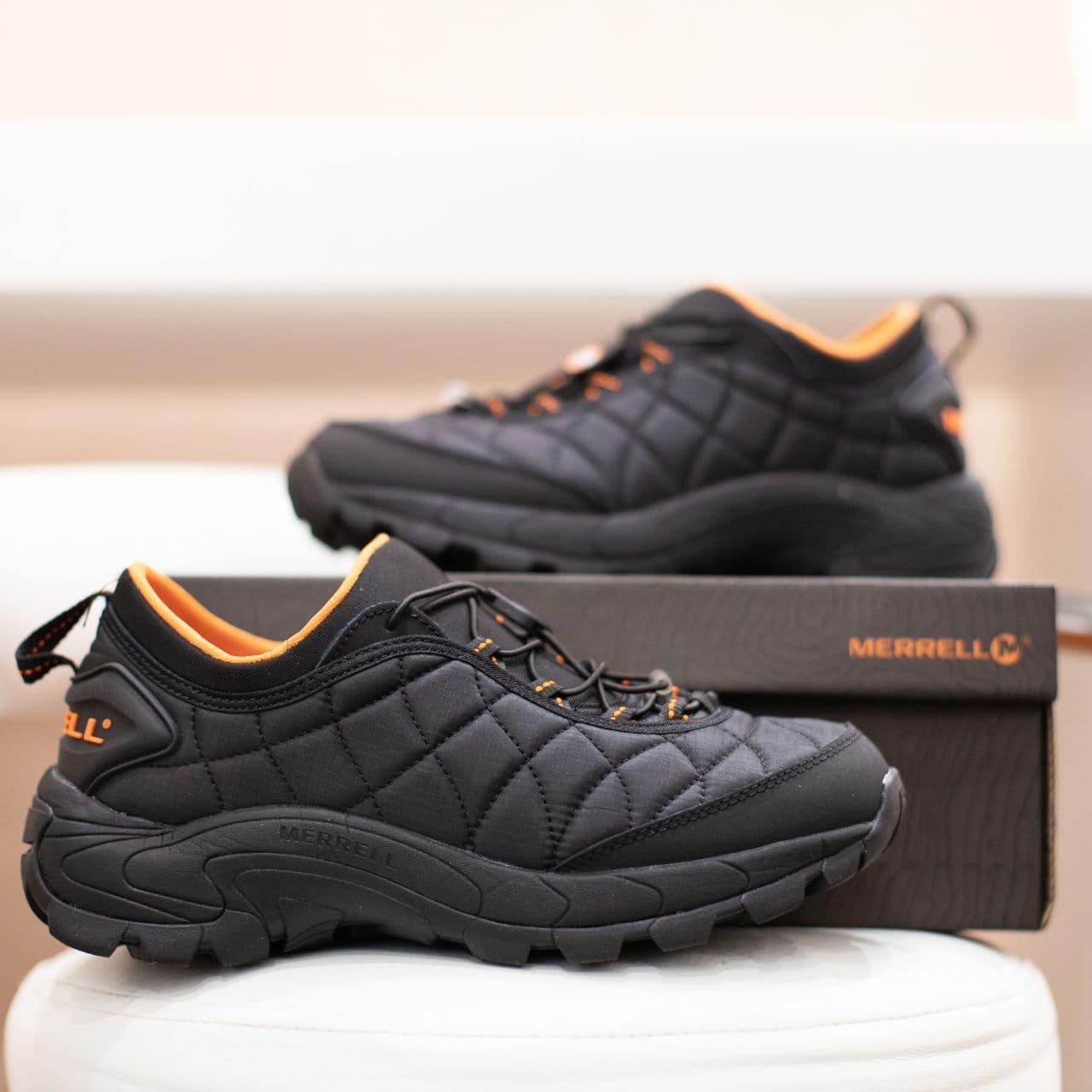 Мужские кроссовки Merrell Vibram Black Orange / Мэррелл Вибрам Чернные Оранжевые Термо