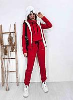 Тёплый женский спортивный костюм тройка на флисе штаны батник жилетка с мехом красный 42 44 46 48 50 52