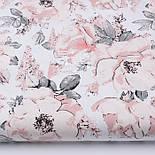 """Клапоть тканини """"Дикі троянди"""" пудрові на білому (2392), розмір 35*80 см, фото 2"""
