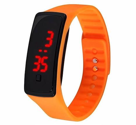 Электронные наручные часы LTL Led на силиконовом браслете orange, фото 2