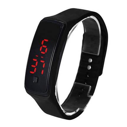 Электронные наручные часы LTL Led на силиконовом браслете black, фото 2