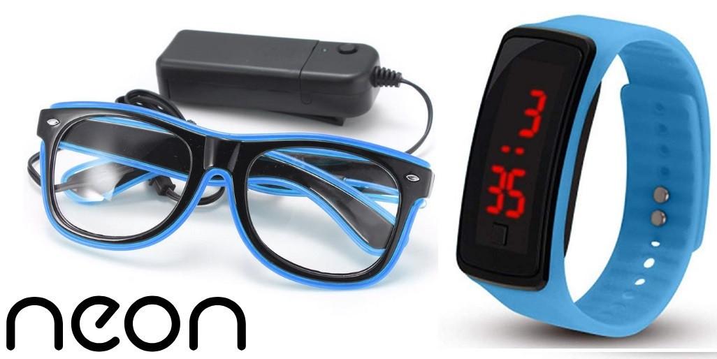 Очки NEON  прозрачные El Neon ray ice blue + Часы