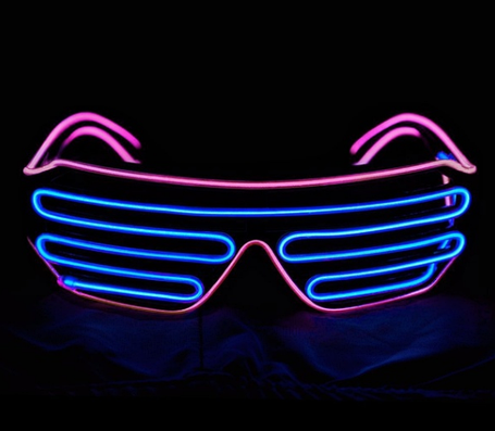 Очки светодиодные El Neon spiral blue pink неоновые, фото 2