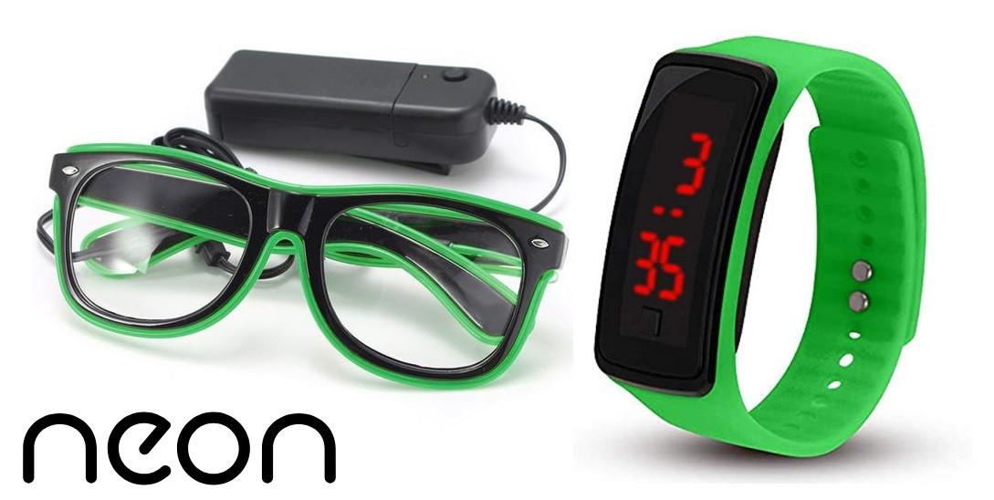 Очки NEON  прозрачные El Neon ray green + Часы