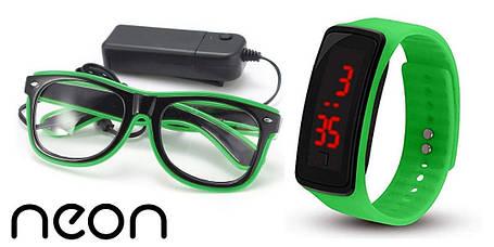 Очки NEON  прозрачные El Neon ray green + Часы, фото 2