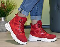 Женские ботинки спортивные на тракторной платформе демисезонные красные b-205