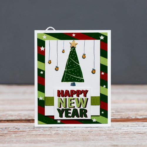 Открытка мини Happy New Year зеленая елка