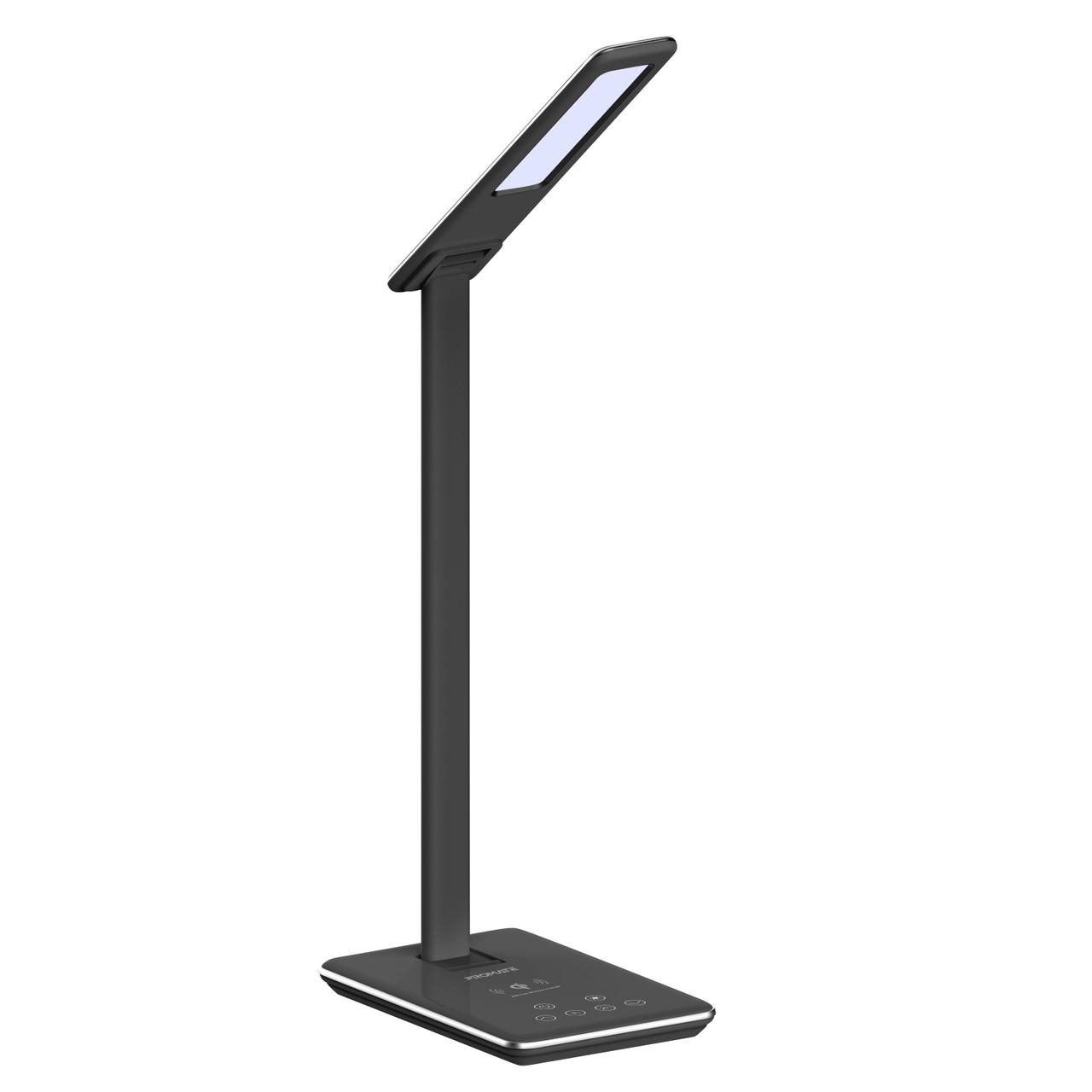Настольная лампа Promate AuraLight-1 500 lm, 10 W беспроводная зарядка, 2.5 W USB Black