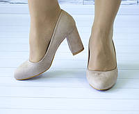 Туфли лодочки на устойчивом каблуке пудровые эко замша