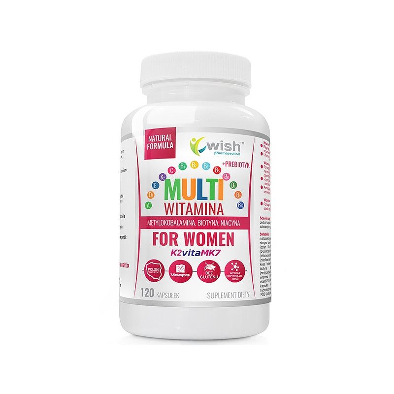 Мультивитаминный комплекс для женщин, комплекс Витамина B + ADEK + Витамин C + пребиотик 120 caps, Wish