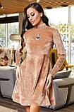 1651/7 Модное женское велюровое платье разные цвета, фото 5