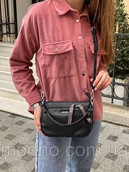 Жіноча стильна сумка на і через плече Velina Fabbiano чорна