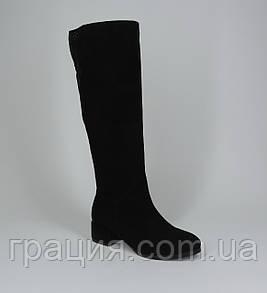 Зимові жіночі замшеві чобітки на повну ногу