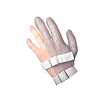 Защитная кольчужная перчатка 3х палая короткая NIROFLEX FM PLUS размер S до запястья с текстильным ремешком
