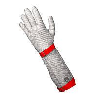 Профессиональная кольчужная перчатка 5палая для разделки мяса NIROFLEX FM PLUS размер M манжет 19см с ремешком